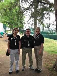 05.03.13 - The Chuckleheads'  (L to R, Sienna, Scott, Michelle) earn some $ for their non-profit, Actor's Crib, Inc. by working the Well Fargo Golf Championship at Quail Hollow in Charlotte, NC.