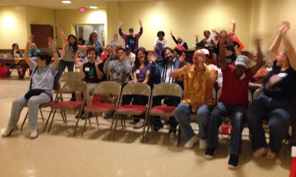 10-30-2013 - The audience goes wild at the Chuckleheads' show at the InReach Wellness Fair at the Scottish Rites Church.