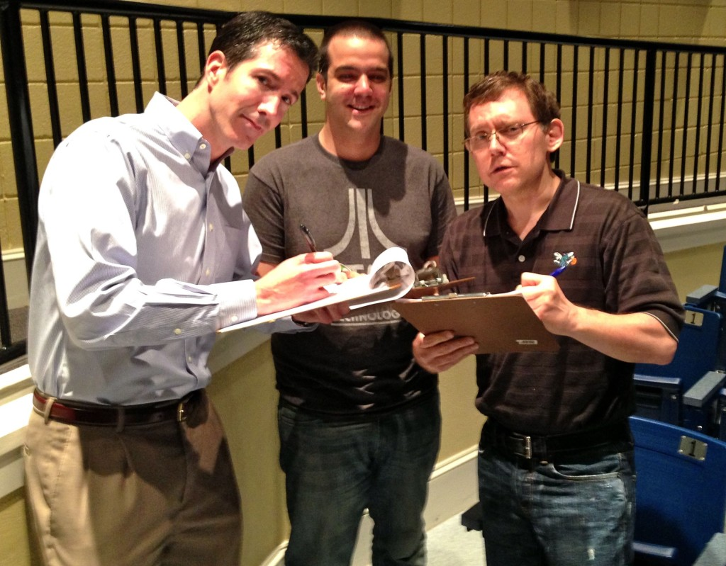 05.23.13 - The judges of the Cabarrus County School Improv Olympic competition (L to R) Ryan Sullivan, Brian Zarbock, and Scott Pacitti