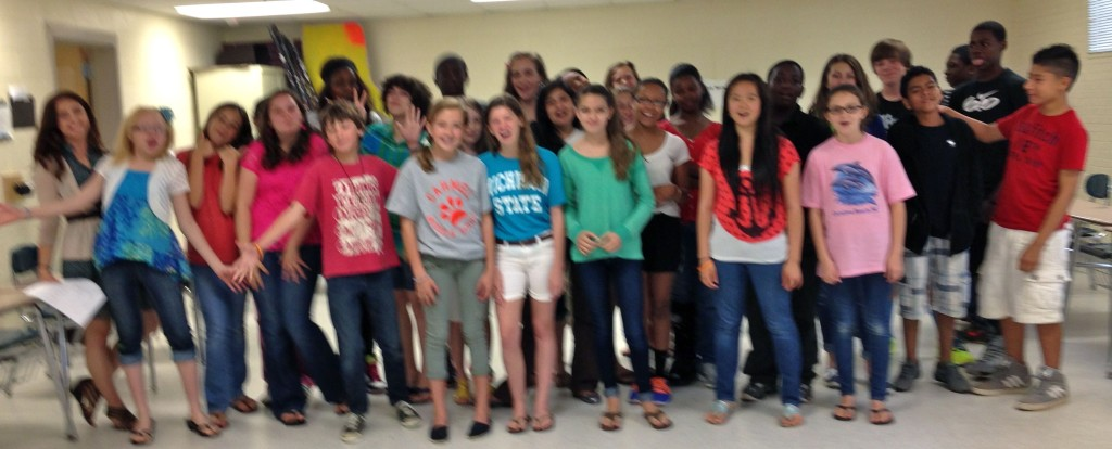 05.30.13 - The participants of one of the Carmel Middle School arts crawl 2013 improv workshop classes taught by Scott Pacitti.