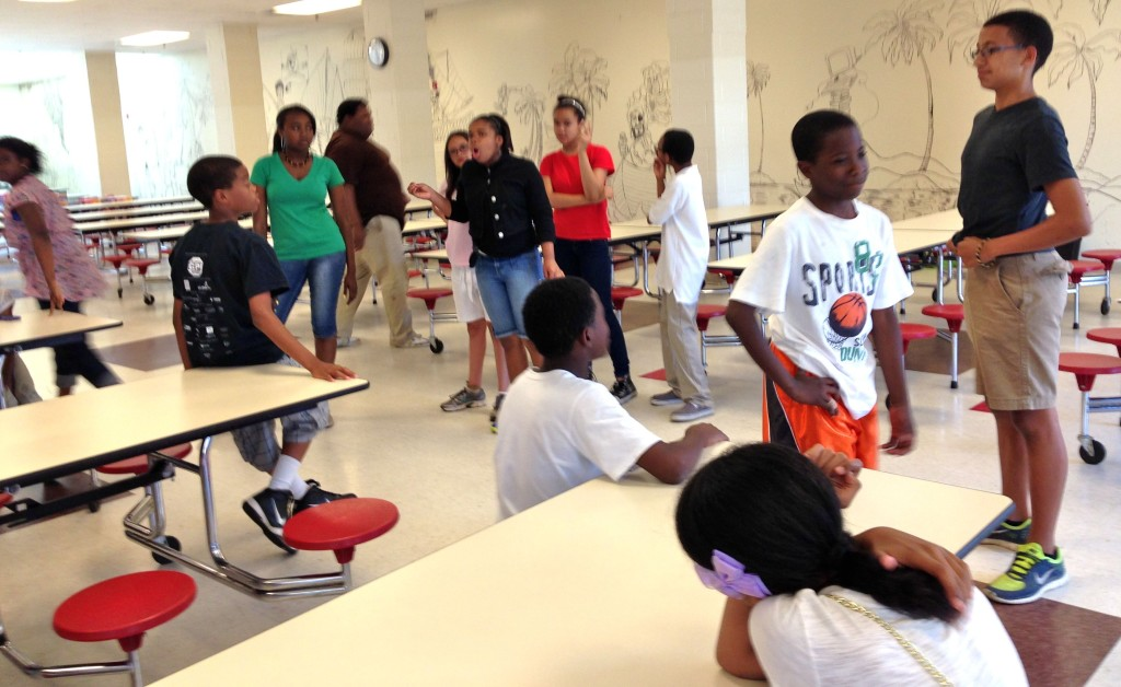 """06.03.13 - Students from the Piedmont Middle School After School Enrichment Program participate in the long-form improv activity, """"Reel Life."""""""