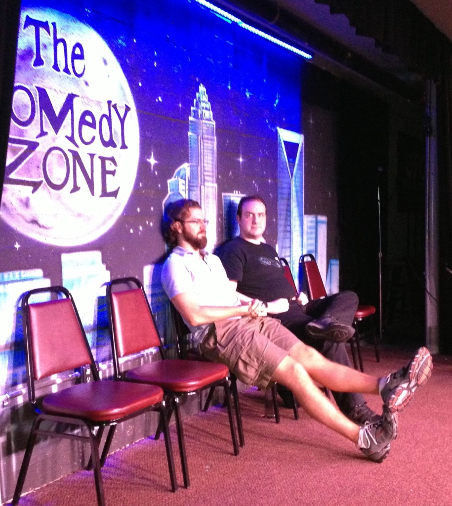 06.23.13 - (L to R) Topher and Robert hang out on stage at the Charlotte Comedy Zone before the show.