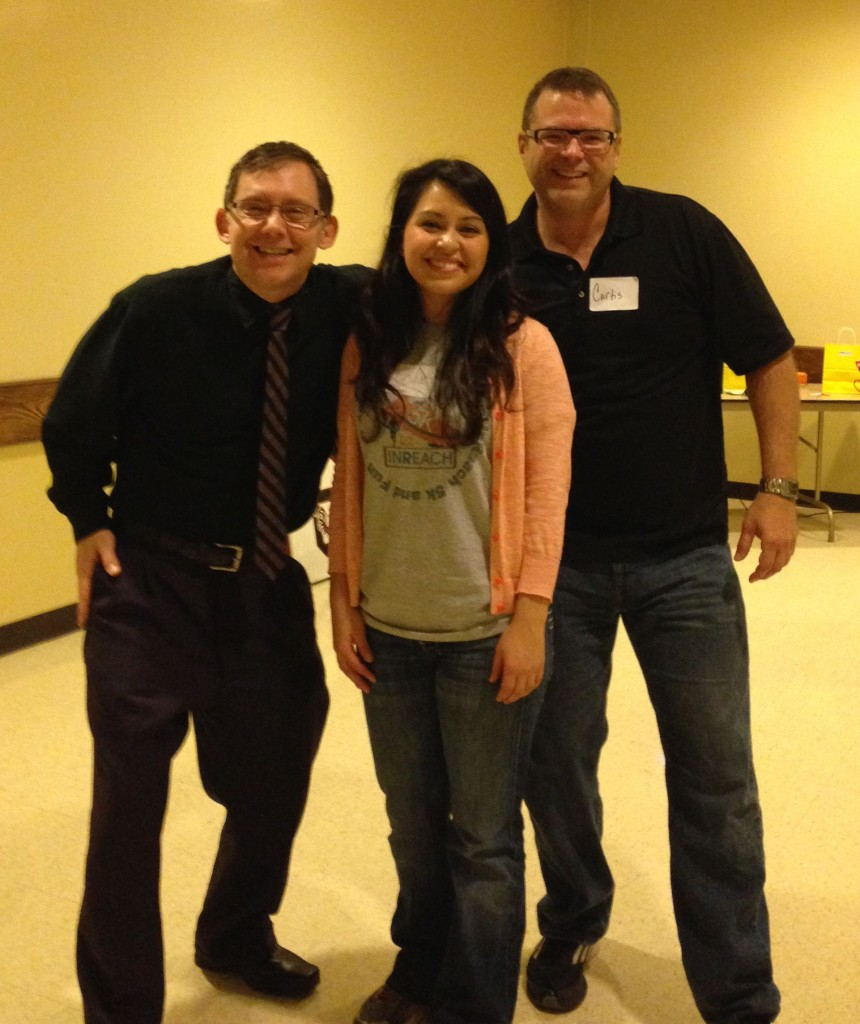 10-30-2013 - (L to R) Scott, Monique, Curtis before the Chuckleheads' show at the InReach Wellness Fair at the Scottish Rites Church.